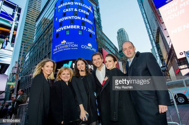 Joanne Froggatt Allen Leech Lesley Nicol Gareth Neame and Sophie McShera from the cast of 'Downton Abbey' with Nasdaq host Gabbie Bustamante ring the...