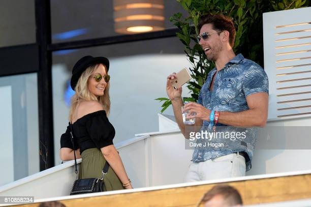 Joanne Froggatt and James Cannon watch The Killers from The Barclaycard VIP area at the Barclaycard Presents British Summer Time Festival in Hyde...