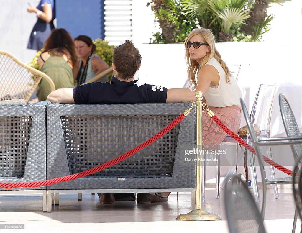 Joanne Froggatt talks to her husband James Cannon on day 8 of the 70th Venice International Film Festival on September 4, 2013 in Venice, Italy.