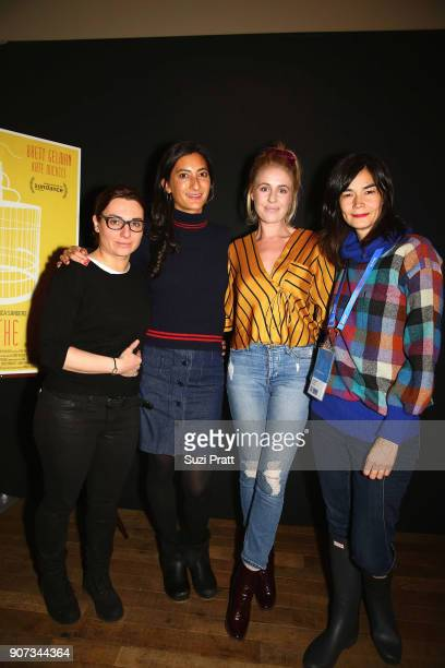 Joanne Gieger Jessica Sanders Louise Shore and Eva Flodstrom pose for a photo at the Refinery29 and TNT Shatterbox Anthology Season 2 Sundance...