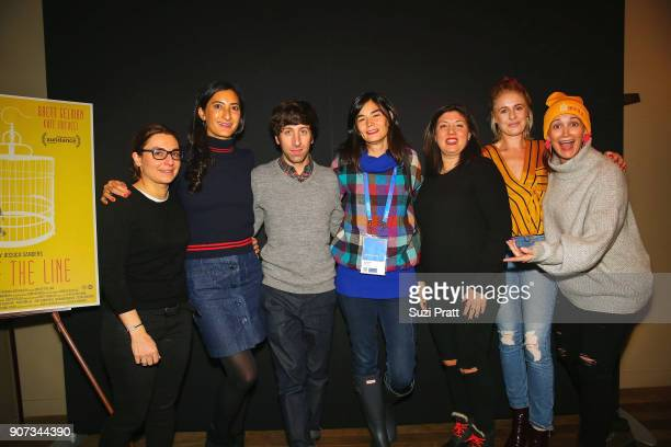 Joanne Gieger Jessica Sanders Simon Helberg Eva Flodstrom Shannon Gibson and Louise Shore pose for a photo at Firewood on January 19 2018 in Park...