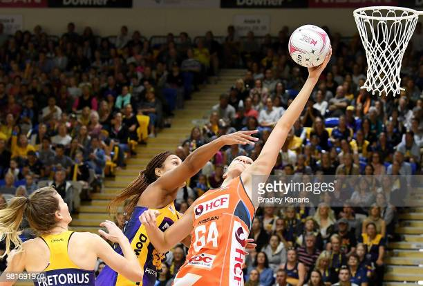 Stephanie Wood of the Lightning in action during the round eight Super Netball match between the Lightning and the Giants at University of the...