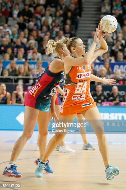 Joanne Harten of the Giants passes the ball during the Super Netball Preliminary Final match between the Vixens and the Giants at Hisense Arena on...
