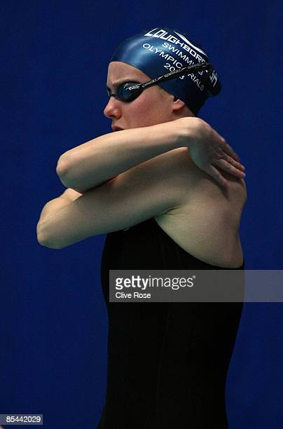 Joanne Jackson looks on prior to the Women's 400m Freestyle heats during day one of the British Gas Swimming Championships at Ponds Forge on March 16...