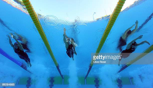 Joanne Jackson of Great Britain, Federica Pellegrini of Italy and Allison Schmitt of the United States compete in the Women's 400m Freestyle Final...