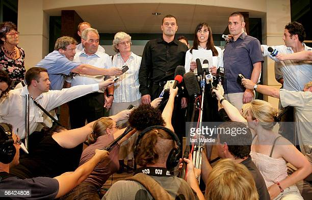 Joanne Lees girlfriend of Peter Falconio leaves the Northern Territory Supreme Court with Falconio's family Father Luciano Mother Joan Brothers Nick...