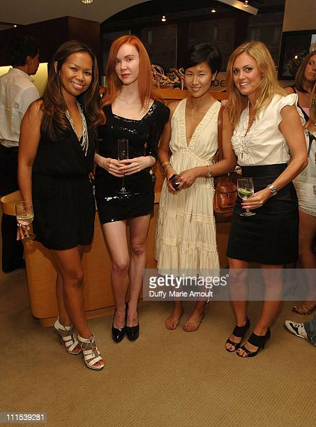 Joanne Lord of Bebe Bebe model Jeri Jennifer Yoo of Glamour and Alexis Avery of Bebe attend the shoe launch at Titan Industries on August 6 2009 in...