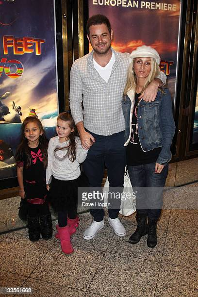 Joanne Mas and Danny Dyer with their daughters Dani and Sunnie attend the European premiere of Happy Feet Two at The Empire Leicester Square on...
