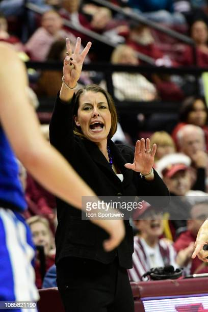 Joanne McCallie women's head coach Duke University Blue Devils signals from the sideline during an Atlantic Coast Conference match-up with the...