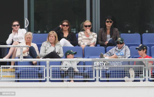 Joanne North wife of Marcus North Tamsyn Lewis girlfriend of Graham Manou and Jessica Bratich girlfriend of Mitchell Johnson watch play during day...