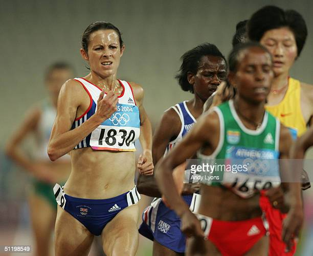 Joanne Pavey of Great Britain competes in the women's 5000 metre event on August 20 2004 during the Athens 2004 Summer Olympic Games at the Olympic...