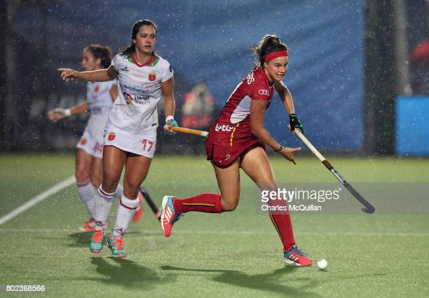 Joanne Peeters of Belgium and Lola Riera of Spain during the FINTRO Women's Hockey World League SemiFinal Pool B game between Belgium and Spain on...