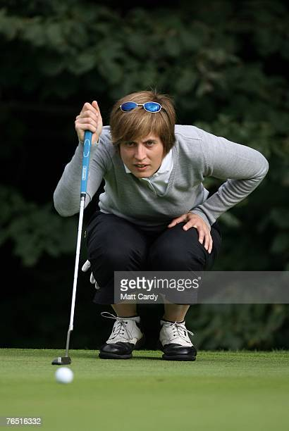 Joanne Pritchard lines up her putt on the 1st hole during Round Two on the second day RCW2010 Welsh National PGA Championship at Cardiff Golf Club on...