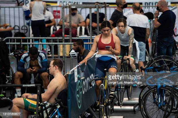 Joanne Rodriguez Hacohen of Guatemala warms up before the Sprints finals as part of the UCI Belgian International Track Meeting at Vlaams...