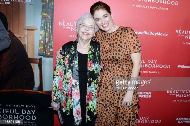 Joanne Rogers and Marielle Heller attend New York Special Screening Of A Beautiful Day In The Neighborhood at Henry R Luce Auditorium at Brookfield...