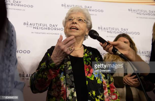Joanne Rogers center wife of Fred Rogers attends A Beautiful Day in the Neighborhood movie premiere at the Southside Works Cinema on November 20 2019...