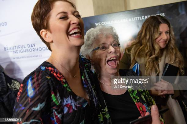 Joanne Rogers wife of Fred Rogers and Director Marielle Heller attend A Beautiful Day in the Neighborhood movie premiere at the Southside Works...