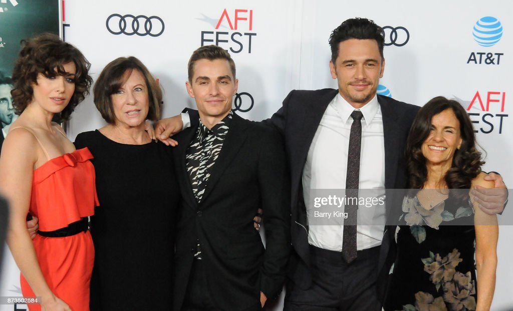 Joanne Schermerhom, actress Alison Brie, actor Dave Franco, director/actor James Franco and Betsy Franco-Feeney attend AFI FEST 2017 Presented By Audi - Screening Of 'The Disaster Artist' at TCL Chinese Theatre on November 12, 2017 in Hollywood, California.