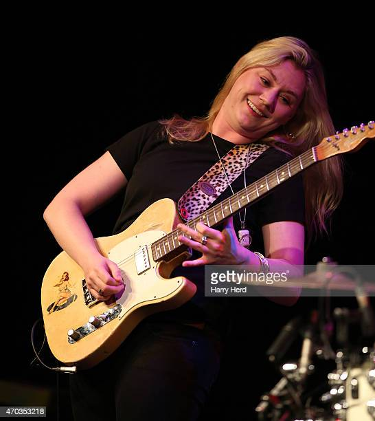 Joanne Shaw Taylor performs on stage at Salisbury City Hall on April 16 2015 in London United Kingdom