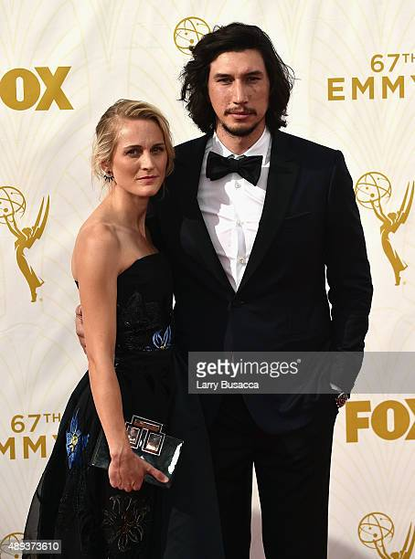 Joanne Tucker and actor Adam Driver attend the 67th Annual Primetime Emmy Awards at Microsoft Theater on September 20 2015 in Los Angeles California