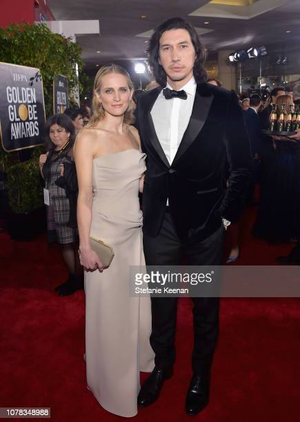 Joanne Tucker and Adam Driver attend FIJI Water at the 76th Annual Golden Globe Awards on January 6 2019 at the Beverly Hilton in Los Angeles...