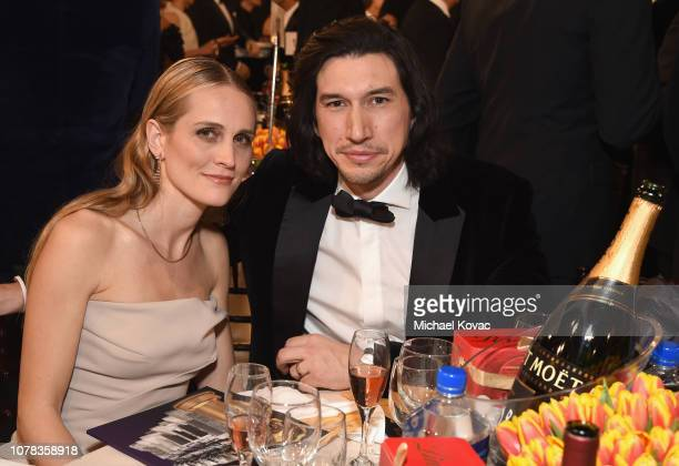 Joanne Tucker and Adam Driver attend Moet Chandon at The 76th Annual Golden Globe Awards at The Beverly Hilton Hotel on January 6 2019 in Beverly...