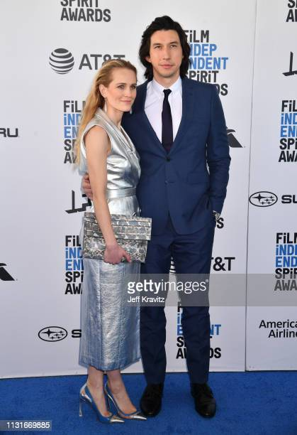 Joanne Tucker and Adam Driver attend the 2019 Film Independent Spirit Awards on February 23 2019 in Santa Monica California