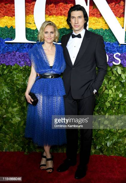 Joanne Tucker and Adam Driver attend the 73rd Annual Tony Awards at Radio City Music Hall on June 09, 2019 in New York City.