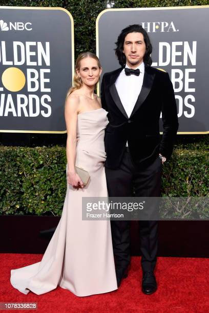 Joanne Tucker and Adam Driver attend the 76th Annual Golden Globe Awards at The Beverly Hilton Hotel on January 6 2019 in Beverly Hills California