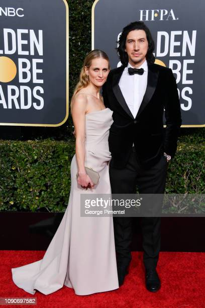 Joanne Tucker and Adam Driver attend the 76th Annual Golden Globe Awards held at The Beverly Hilton Hotel on January 06 2019 in Beverly Hills...