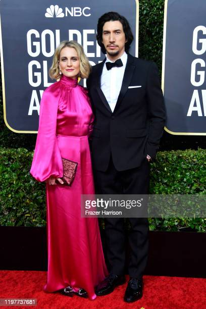 Joanne Tucker and Adam Driver attend the 77th Annual Golden Globe Awards at The Beverly Hilton Hotel on January 05 2020 in Beverly Hills California