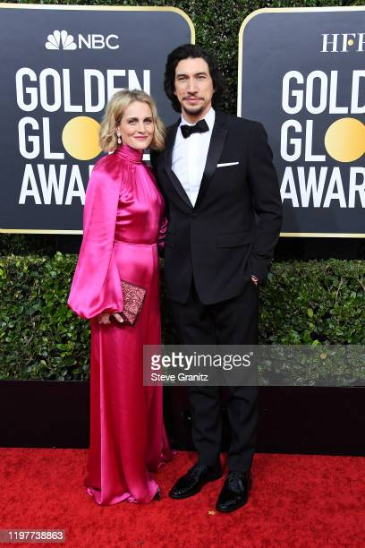 Joanne Tucker and Adam Driver attend the 77th Annual Golden Globe Awards at The Beverly Hilton Hotel on January 05, 2020 in Beverly Hills, California.