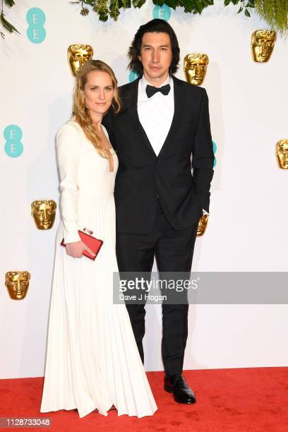 Joanne Tucker and Adam Driver attend the EE British Academy Film Awards at Royal Albert Hall on February 10 2019 in London England