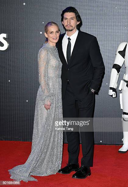 Joanne Tucker and Adam Driver attend the European Premiere of 'Star Wars The Force Awakens' at Leicester Square on December 16 2015 in London England