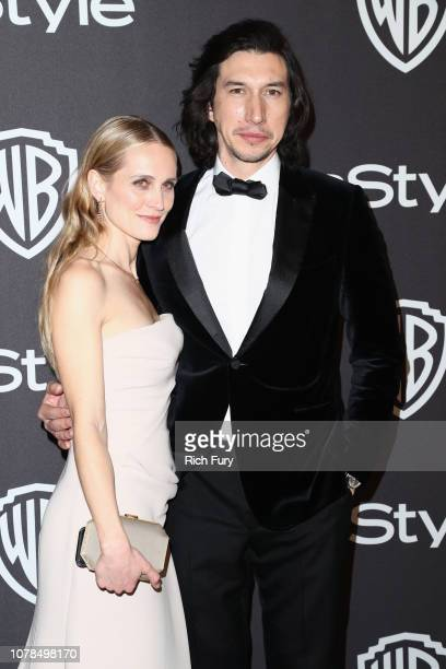 Joanne Tucker and Adam Driver attend the InStyle And Warner Bros Golden Globes After Party 2019 at The Beverly Hilton Hotel on January 6 2019 in...