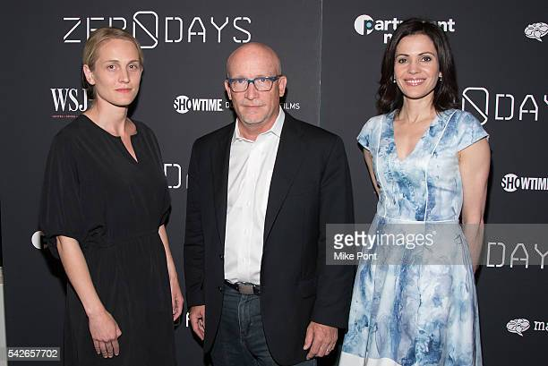 Joanne Tucker director Alex Gibney and Tanya Rivero attend the Zero Days New York Premiere at New York Institute of Technology on June 23 2016 in New...