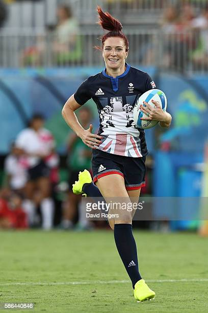 Joanne Watmore of Great Britain runs with the ball to score a try during a Women's Pool C rugby match between Great Britain and Japan on Day 1 of the...