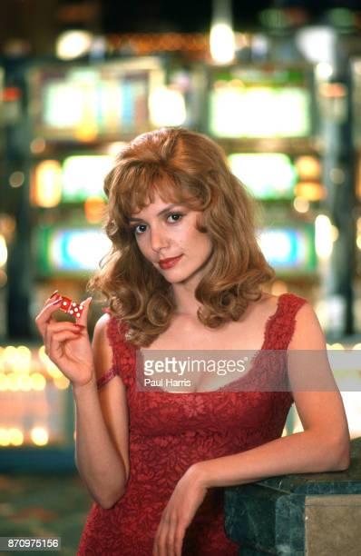 Joanne Whalley films Kill Me Again in a casino in Las Vegas February 12 1989 Las Vegas Nevada