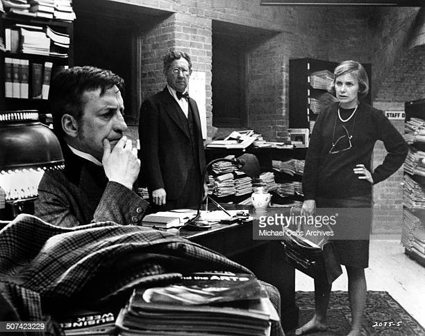 Joanne Woodward a psychiatrist confronts George C. Scott as he tries to find clues to the man trying to kill him in a scene from the Universal...