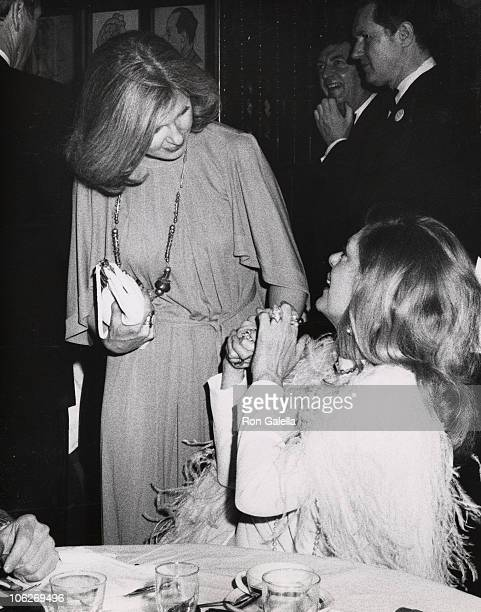 Joanne Woodward and Melina Mercouri during 28th Annual Tony Awards After Party at Sardi's Restaurant in New York City New York United States
