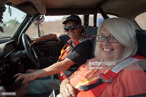 Joanne Worth and her mother Heather Worth pose for a portrait in their 1968 Volvo Amazon during the final day of the Road to Mandalay 24day car rally...