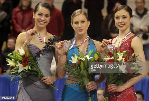 Joannie Rochette of Canada celebrates her win in the Ladies competition of the the 2009 Homesense Skate Canada International in Kitchener Ontario...