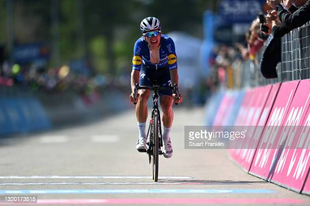 Joao Almeida of Portugal and Team Deceuninck - Quick-Step at arrival during the 104th Giro d'Italia 2021, Stage 17 a 193km stage from Canazei to Sega...