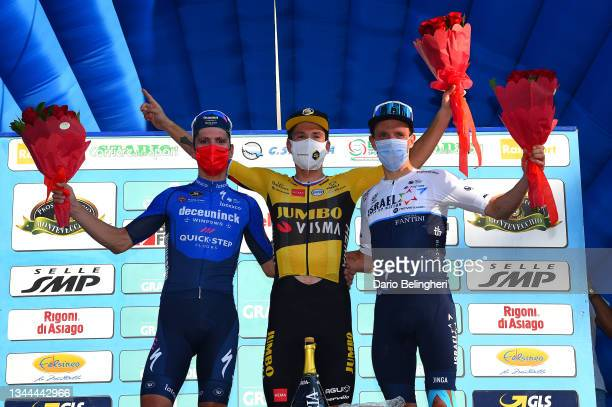 Joao Almeida of Portugal and Team Deceuninck - Quick-Step on second place, stage winner Primoz Roglic of Slovenia and Team Jumbo - Visma and Michael...