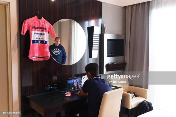 Joao Almeida of Portugal and Team Deceuninck - Quick-Step Pink Leader Jersey / Phil Lowe of The United Kingdom Press officer of Team Deceuninck -...