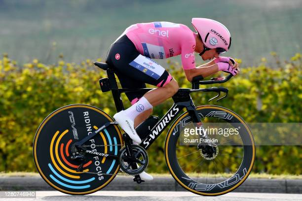 Joao Almeida of Portugal and Team Deceuninck - Quick-Step Pink Leader Jersey / during the 103rd Giro d'Italia 2020, Stage 14 a 34,1km individual Time...