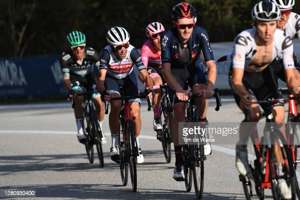 Joao Almeida of Portugal and Team Deceuninck - Quick-Step Pink Leader Jersey / Vincenzo Nibali of Italy and Team Trek - Segafredo / Tao Geoghegan...
