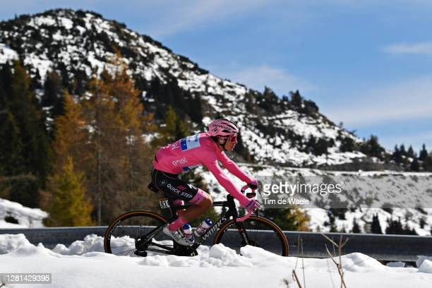 Joao Almeida of Portugal and Team Deceuninck - Quick-Step Pink Leader Jersey / Forcella Valbona / Snow / Mountains / during the 103rd Giro d'Italia...