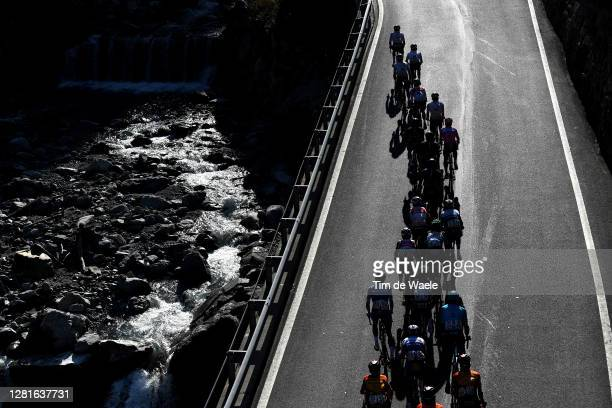Joao Almeida of Portugal and Team Deceuninck - Quick-Step Pink Leader Jersey / Jai Hindley of Australia and Team Sunweb White Best Young Rider Jersey...