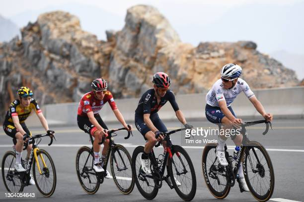 Joao Almeida of Portugal and Team Deceuninck - Quick-Step White best young jersey, Adam Yates of The United Kingdom and Team INEOS Grenadiers, Tadej...